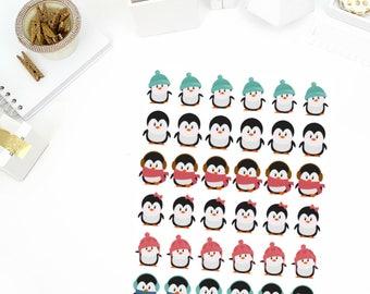 Winter Penguins Stickers! Perfect for your Erin Condren Life Planner, calendar, Paper Plum, Filofax!