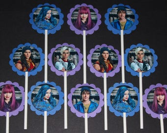 Disney Descendants Cupcake Toppers, 12 count Cake Toppers, Mal, Evie, Jay, Carlos, and Ben