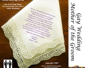 Gay Wedding ~ Mother of the Groom Gift from the Groom  Printed Wedding Hankerchief G814 Title, Sign & Date for Free!  LGBT Mr and Mr