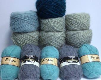 Wool Yarn Bundle Mohair Destash Yarn Shades of Green & Gray Yarn Variety, Jessan Olive Moss Forest Green Bernat Grey 12 Skeins Together