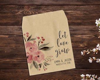 Seed Favor, Seed Packets, Rustic Wedding, Custom Seed Packets, Pink Wedding, Personalized Favor, Custom Wedding Favor, Wedding Favor x 25