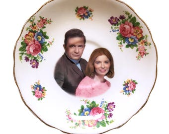 Vintage - Illustrated - Johnny Cash - June Carter - Plate - Upcycled - Wall Display - Altered - Antique - Plate