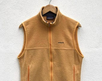 20% OFF Vintage Patagonia Fleece Vest / Patagonia Outdoor Vest / Yellow Vest
