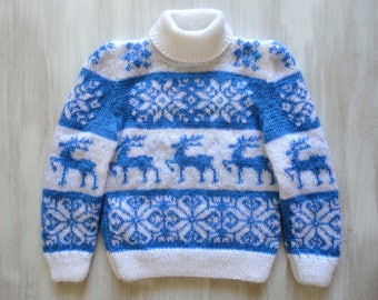 Knit Sweater, Christmas Sweater, Hand Knit Sweater, Wool Sweater, Scandinavian, Norwegian Sweater, Kids Sweater, Holiday Sweater