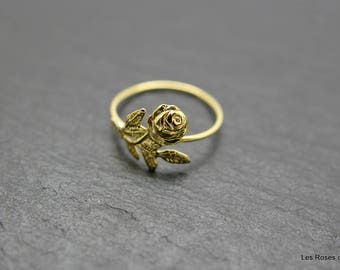 Mini rose gold plated ring size 53, gold ring
