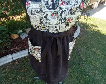 Handmade Sewing Print Bib Apron with Black Terrycloth Towel Skirt and Coordinating Pockets - FREE SHIPPING