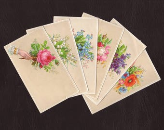 Set of 6 French victorian advertising trade cards - Home wall decor, hands offering flowers lithographs print - Antique illustrations (S035)