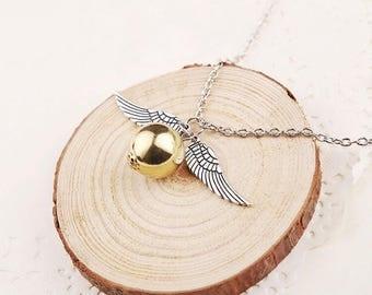 Golden Snitch Harry Potter necklace