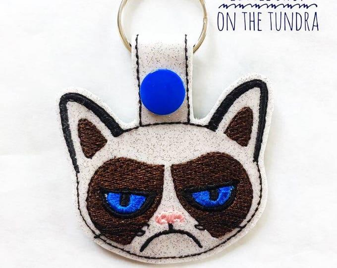 Grumpy Cat Keyfob-Key Chain-Snap Tab-Luggage Tag