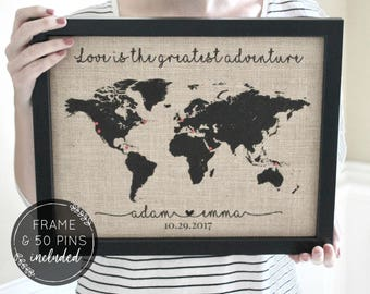 Valentines Day Gift for Him, Travel Gifts, Push Pin Travel Map, Anniversary Gift, World Map Print Travel Gift, Husband Gift, Graduation Gift