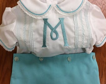 Turquoise and White Monogram Button-On