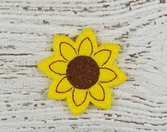 Sunflower Feltie Set of 4 - Hair Bow Supplies - Clippie Cover - Badge Reel Cover - Craft Supply - Scrapbooking - Card Making - Planner Clip