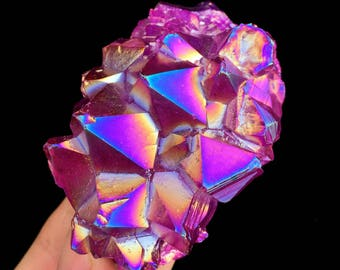 Free Shipping! Purple Aura Quartz Amethyst Cluster Titanium Plated Crystal ,Crystal Healing,color-changing crystal   J445