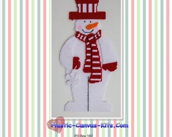 Red and White Snowman-Christmas-Plastic Canvas pattern-PDF Download