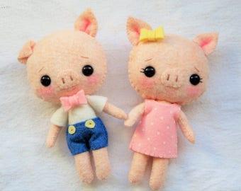 Pocket Piggy Boy or Girl - Handmade Plush Felt Doll Kawaii Style, Decor