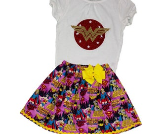 Girl outfit Wonder woman birthday girl outfit  Wonder woman toddler outfit girl wonder woman name toddler dress