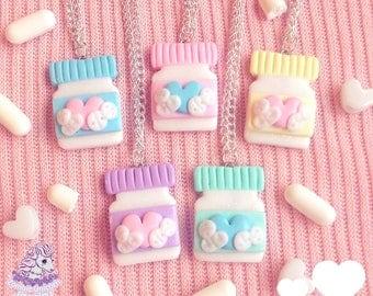 Feel Better Soon jar of pills necklace menhera