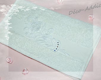 Pretty little towel with Ecru guest and lace flowers and rhinestones