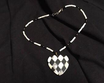 "Necklace Checker Black White Heart Beaded Screw Type Closure 18"" Fashion Jewelry"