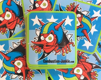 Combustion-Junkie Stickers Retro Hot Rod Devil
