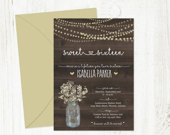 Printable Sweet 16 Invitation Template - Rustic Sweet Sixteen Mason Jar, Fairy Lights, Wood - Instant Download Digital File PDF - Text Email