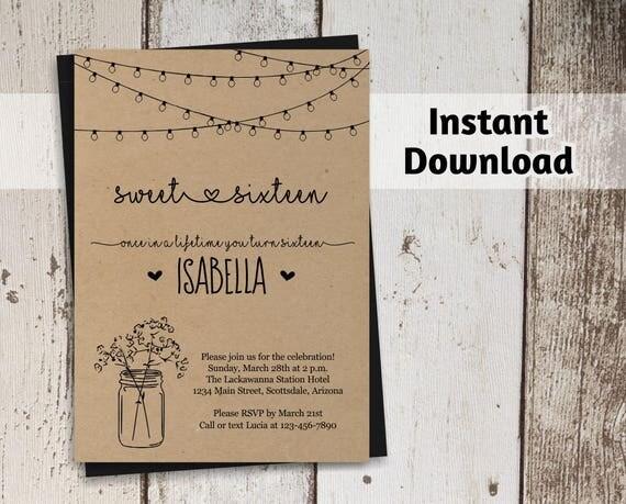 sweet 16 invitations templates