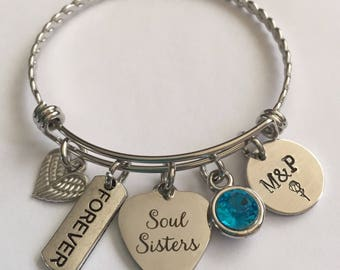 Soul sisters bracelet-soul sisters stainless steel bracelet-soul sistee personalizes bracelet