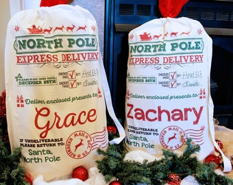 Santa Sack - Multiple Sizes - Personalized Santa Sack, Christmas Santa Sack, Santa bag, Add Your Child's Name - DESIGN 1 Santa Sack