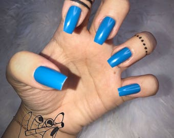 Blue(S)  Coffin Press On Nails