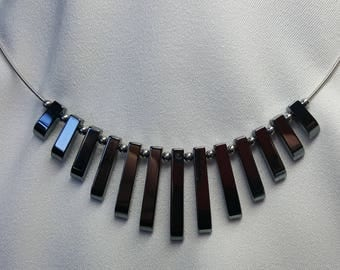 Guitar String Necklace Graduated Hematite Spikes