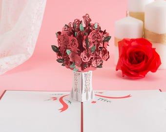 Rose Bouquet Pop Up Card, Roses Pop Up Card, Valentine's Day Pop Up Card, Valentine's Day Card, Love Card, Romance Card, Flower Bouquet Card