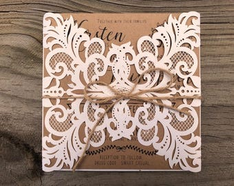 Rustic wedding invitation, laser cut design, rustic lace invite, laser cut invitation, white lace invitations, rustic wedding