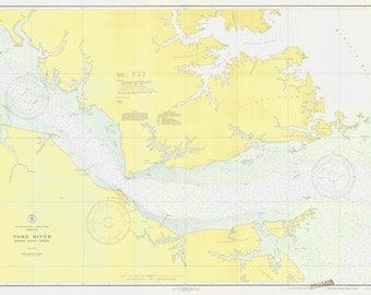 York River Map - Below King Creek - Chesapeake Bay Chart - 1937