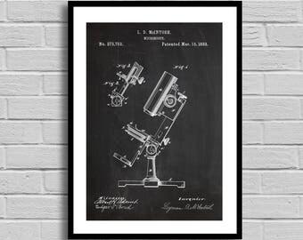Microscope Patent, Microscope Patent Poster, Microscope Blueprint, Microscope Print, Science Decor, Medical Gift, Biology, Teacher Gift