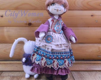 Art Doll, Ragdoll, Toy, Textile Doll, Doll fabric, Handmade, Wedding, Home decor, Gift for girl, Shower gift, Collectible textile doll