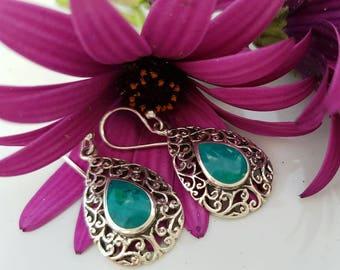 Sterling silver 'Eilat stone' earrings