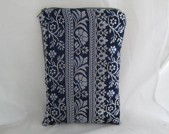Brocade Tarot Card Bag Blue and Silver Stripe with Satin Lining, Zipper Dice Makeup Pouch Fancy