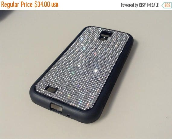 Sale Galaxy S4 Clear Diamond Rhinestone Crystals on Black Rubber Case. Velvet/Silk Pouch Bag Included, Genuine Rangsee Crystal Cases.