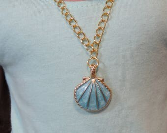 Gold and Blue Enameled Seashell Necklace for American Girl Doll and other 18 inch dolls, Summer, Beach