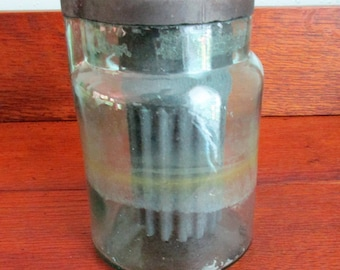 Vintage National No2 Cell Aqua-Green Battery Glass Jar