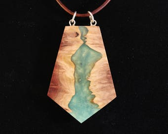 Red mallee burl and acrylic pendant