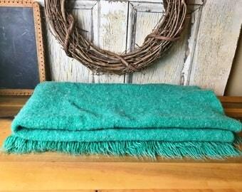 Wool Blanket, Vintage Wool Blanket, Vintage Kenwood Wool Blanket, Teal Blanket