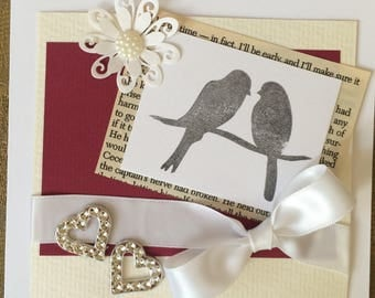 Beautiful Handmade Personalised Valentines Card with Love Birds and Decorative Details