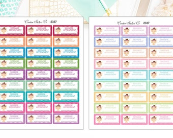 Massage Appointment Stickers, Massage Appointment Planner Stickers – Sized for the Erin Condren – 2337