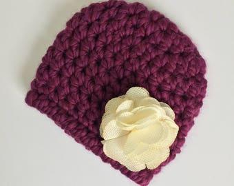 Cream Burlap Flower Beanie, Ready to Ship, Baby Girl Beanie, Crochet Hat Baby, Newborn Girl Hat, Baby Shower Gift Girl, Newborn Hat