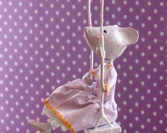 Mobile paper mache. Kids decor. Gift for her. Purple girl mobile.  Birth gift. Little mouse on swing. Poetic mobile
