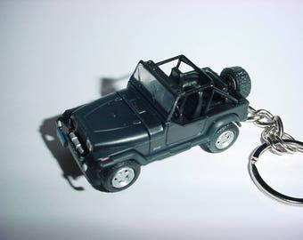 3D Jeep Wrangler custom keychain by Brian Thornton keyring key chain finished in black racing trim 4x4 offroad rescue mission truck 1987 yj