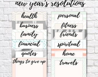 NEW YEAR'S RESOLUTION cards, new year's resolutions, new year's note cards, new year's organization, new year's printable, vision board