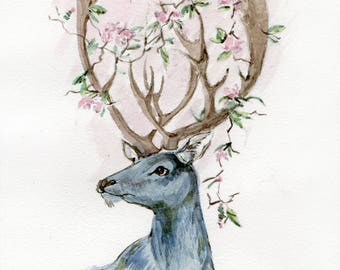 Deer Art- Original Watercolor Painting - 5,9x8,26 inch