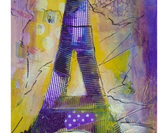 painting is collage and acrylic of the Eiffel Tower in paris.